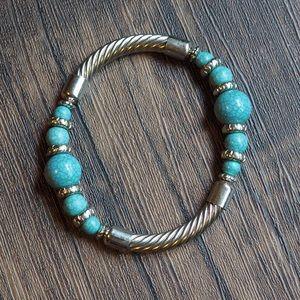 Turquoise Blue Silver Stretch Bracelet Premier